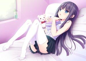 Rating: Safe Score: 86 Tags: bed black_hair blue_eyes blush book long_hair original shiwasu_horio skirt teddy_bear thighhighs User: mattiasc02