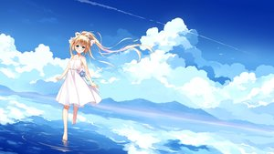 Rating: Safe Score: 46 Tags: air animal aqua_eyes barefoot bird blonde_hair blush clouds dress kamio_misuzu long_hair ponytail reflection ribbons scenic sky water xia_xiang_(ozicha) User: RyuZU