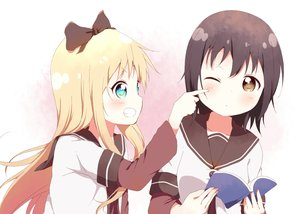 Rating: Safe Score: 47 Tags: 2girls aliasing blonde_hair blush book bow brown_eyes brown_hair funami_yui long_hair school_uniform short_hair tagme_(artist) toshinou_kyouko wink yuru_yuri User: RyuZU