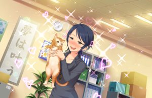 Rating: Safe Score: 28 Tags: animal annin_doufu black_hair blush cat gray_eyes heart idolmaster idolmaster_cinderella_girls idolmaster_cinderella_girls_starlight_stage necklace short_hair translation_request wakui_rumi User: luckyluna
