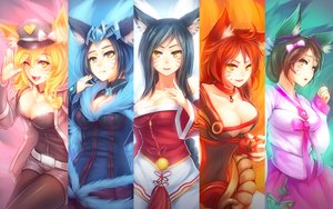 Rating: Safe Score: 270 Tags: ahri_(league_of_legends) animal_ears breasts cleavage foxgirl kerasu league_of_legends tail User: Wiresetc