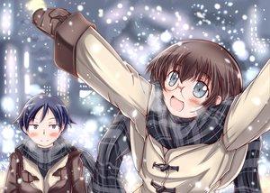 Rating: Safe Score: 3 Tags: blue_eyes blue_hair brown_hair glasses kousaka_kyousuke male ore_no_imouto_ga_konna_ni_kawaii_wake_ga_nai scarf short_hair snow tamura_manami winter User: Oyashiro-sama