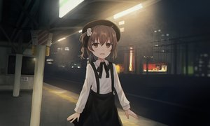 Rating: Safe Score: 45 Tags: bow brown_eyes brown_hair building chihuri405 fang flowers hat hatoba_tsugu hatoba_tsugu_(channel) loli night rose scenic shirt short_hair skirt User: RyuZU