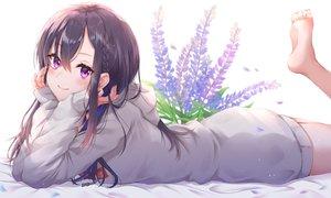 Rating: Safe Score: 104 Tags: barefoot black_hair blush braids flowers hoodie ichinose_uruha long_hair lupinus_virtual_games purple_eyes toki_(toki_ship8) User: Dreista