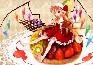 Rating: Safe Score: 59 Tags: barefoot blonde_hair dress flandre_scarlet food koto_(colorcube) red_eyes touhou wings User: Kunimura