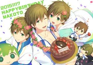 Rating: Safe Score: 26 Tags: all_male brown_hair cake chibi flowers food free! fruit funikurikurara green_eyes headdress male short_hair strawberry tachibana_makoto wink User: mattiasc02