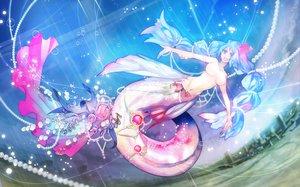 Rating: Questionable Score: 87 Tags: aqua_hair breasts bubbles jpeg_artifacts kyouka_hatori long_hair mermaid navel nude original pixiv_fantasia purple_eyes topless twintails User: w7382001