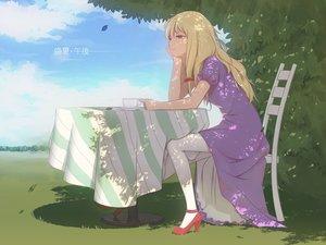Rating: Safe Score: 122 Tags: blonde_hair clouds dress drink grass leaves long_hair maredoro purple_eyes touhou yakumo_yukari User: Flandre93