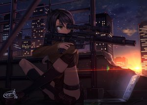 Rating: Safe Score: 45 Tags: black_hair building city clouds computer dreadtie garter gun kneehighs original seifuku short_hair signed skirt sky stars sunset thighhighs weapon yellow_eyes User: RyuZU