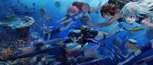 Rating: Safe Score: 131 Tags: admiral_(kancolle) animal anthropomorphism book bubbles fish glasses group hat i-168_(kancolle) i-19_(kancolle) i-401_(kancolle) i-58_(kancolle) i-8_(kancolle) kantai_collection long_hair neko_(yanshoujie) ro-500_(kancolle) short_hair swimsuit underwater water User: Flandre93