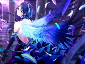 Rating: Safe Score: 98 Tags: blue_hair dress elbow_gloves feathers giba_(out-low) gloves hayami_kanade idolmaster idolmaster_cinderella_girls short_hair wings yellow_eyes User: RyuZU