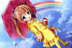 Rating: Safe Score: 70 Tags: boots brown_hair dengeki_moeoh original rainbow tanihara_natsuki twintails umbrella water User: Wiresetc