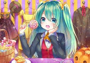 Rating: Safe Score: 18 Tags: aqua_eyes aqua_hair asakishoten blush bow candy dress halloween hat jpeg_artifacts lollipop long_hair pumpkin twintails witch_hat User: RyuZU