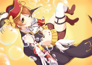 Rating: Safe Score: 31 Tags: blush boots bow brown_hair bubbles gloves hat hoshizora_rin ksk_(semicha_keisuke) love_live!_school_idol_project navel pirate short_hair shorts tattoo wink yellow_eyes User: RyuZU