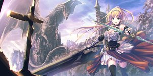 Rating: Safe Score: 104 Tags: armor blonde_hair breasts building cleavage clouds dragon dress elbow_gloves gloves green_eyes long_hair original pointed_ears ponytail scenic sky sword tenmaso thighhighs weapon zettai_ryouiki User: BattlequeenYume