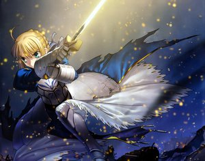 Rating: Safe Score: 38 Tags: armor blonde_hair fate/stay_night green_eyes ribbons saber short_hair sword takeuchi_takashi weapon User: Tensa