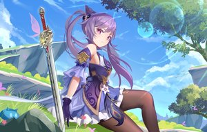 Rating: Safe Score: 134 Tags: butterfly clouds dress genshin_impact gloves grass jiao_cat keqing_(genshin_impact) long_hair pantyhose purple_eyes purple_hair sky sword tree twintails weapon User: BattlequeenYume