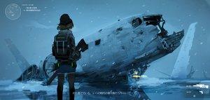 Rating: Safe Score: 82 Tags: airship brown_hair gun hat original pantyhose ruins scenic short_hair shorts snow swav weapon winter User: RyuZU