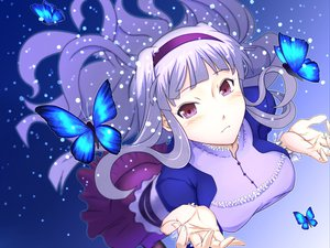 Rating: Safe Score: 52 Tags: blue butterfly headband idolmaster long_hair purple_eyes shijou_takane snow white_hair User: rlyeh