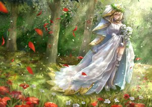 Rating: Safe Score: 21 Tags: blonde_hair boots dress fate/grand_order fate_(series) flowers grass headdress saber saber_bride short_hair tagme_(artist) thighhighs tree wedding_attire User: BattlequeenYume