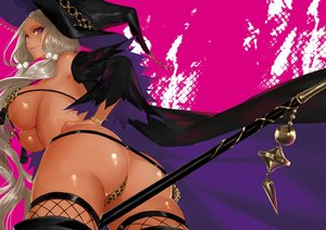 Rating: Questionable Score: 195 Tags: dark_skin dragon's_crown gray_hair hat purple_eyes sorceress_(dragon's_crown) thighhighs ut_(apt) witch_hat User: mattiasc02
