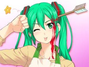 Rating: Safe Score: 102 Tags: blood close g-tetsu green_hair hatsune_miku vocaloid wink User: HawthorneKitty