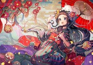 Rating: Safe Score: 94 Tags: animal ball brown_eyes brown_hair cat flowers headdress japanese_clothes kimono long_hair marimari momoshiki_tsubaki ribbons show_by_rock!! umbrella User: FormX