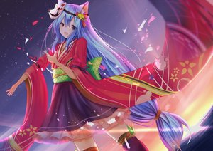 Rating: Safe Score: 20 Tags: aliasing animal_ears aqua_hair clouds japanese_clothes knoy3356 long_hair mask original red_eyes skirt sky sunset thighhighs water User: gnarf1975