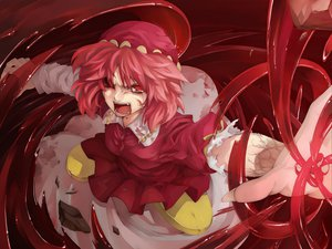 Rating: Safe Score: 51 Tags: blood hat kawashiro_mitori morino_hon pink_hair red_eyes tears touhou User: PAIIS
