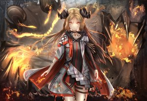 Rating: Safe Score: 65 Tags: arknights blonde_hair cape demon fire horns ifrit_(arknights) kayjae watermark User: PrimalAgony