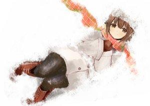 Rating: Safe Score: 76 Tags: boots brown_eyes brown_hair gloves hagiwara_yukiho hat idolmaster pantyhose scarf short_hair snow tsukimura User: mattiasc02