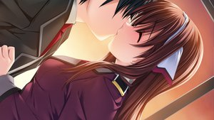 Rating: Safe Score: 31 Tags: amagi_yui game_cg itoshii_kanojo_no_mamorikata kiss senomoto_hisashi User: Maboroshi