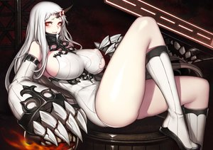 Rating: Safe Score: 78 Tags: boots breasts evan_yang horns kantai_collection long_hair red_eyes seaport_hime white_hair User: Flandre93