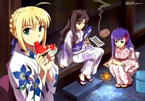 Rating: Safe Score: 41 Tags: artoria_pendragon_(all) fate_(series) fate/stay_night fireworks food fruit japanese_clothes matou_sakura saber summer tohsaka_rin watermelon yukata User: Oyashiro-sama