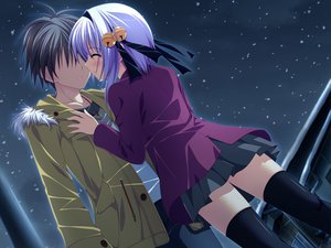 Rating: Safe Score: 30 Tags: game_cg hinata_ibuki hoshizora_e_kakaru_hashi purple_hair short_hair thighhighs User: ホタル