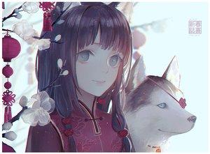 Rating: Safe Score: 33 Tags: animal animal_ears black_hair chinese_clothes close dog flowers long_hair original tagme_(artist) User: RyuZU