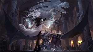 Rating: Safe Score: 215 Tags: armor clouds dragon noba original pixiv_fantasia skull sky spear sword weapon white_hair User: FormX