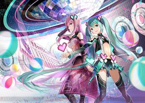 Rating: Safe Score: 87 Tags: 2girls fuji_choko green_eyes green_hair hatsune_miku long_hair megurine_luka navel pink_hair project_diva skirt thighhighs twintails underboob vocaloid waifu2x watermark User: BattlequeenYume