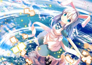 Rating: Safe Score: 33 Tags: alice_in_wonderland animal_ears apron aqua_eyes blush bow bunny_ears chinomaron cosplay dress gochuumon_wa_usagi_desu_ka? gray_hair kafuu_chino loli long_hair signed User: RyuZU