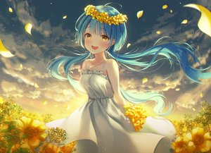 Rating: Safe Score: 60 Tags: aqua_hair blush clouds dress flowers ia_(ia_ju72) long_hair necklace original petals sky summer_dress sunset tears twintails yellow_eyes User: otaku_emmy