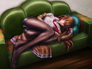 Rating: Safe Score: 86 Tags: brown_hair couch makise_kurisu pantyhose shorts steins;gate tie User: HawthorneKitty