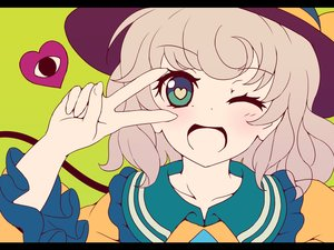 Rating: Safe Score: 64 Tags: blue_eyes blush close dise hat heart komeiji_koishi short_hair touhou white_hair wink User: STORM