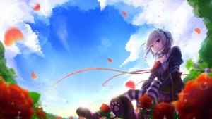 Rating: Safe Score: 80 Tags: brown_eyes clouds fang flowers goth-loli gray_hair hapymaher lolita_fashion naitou_maia petals ribbons rose short_hair sky thighhighs yatsuashi_matomo User: FormX