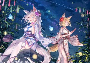 Rating: Safe Score: 86 Tags: 2girls animal_ears aqua_eyes blonde_hair clouds flowers foxgirl fuuro_(johnsonwade) gray_hair japanese_clothes kimono night orange_eyes original ponytail short_hair sky tail thighhighs User: BattlequeenYume