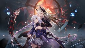 Rating: Safe Score: 96 Tags: 2girls bicolored_eyes blonde_hair braids breasts cape clare_(543) cleavage gloves long_hair original skirt thighhighs torn_clothes twintails weapon white_hair User: BattlequeenYume
