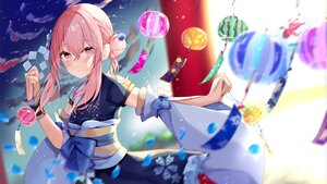 Rating: Safe Score: 53 Tags: blush bow japanese_clothes kimono long_hair original petals pink_eyes pink_hair sinobi_illust sky stars torii wristwear User: otaku_emmy