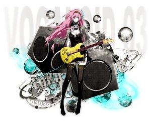 Rating: Safe Score: 86 Tags: arisaka_ako blue_eyes dress gloves guitar headband instrument long_hair megurine_luka pink_hair thighhighs vocaloid User: Tensa