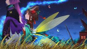 Rating: Safe Score: 65 Tags: brown_hair butterfly clouds headdress loli male mushishi_(onmyouji) onmyouji purple_hair short_hair sky soufuu_ichimoku_ren_(onmyouji) stars wer0 wings yellow_eyes User: RyuZU