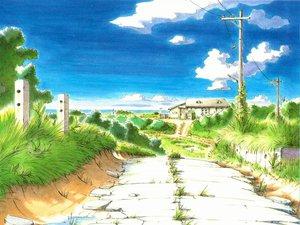 Rating: Safe Score: 19 Tags: ashinano_hitoshi building clouds grass scenic sky yokohama_kaidashi_kikou User: Oyashiro-sama
