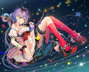 Rating: Safe Score: 134 Tags: bow choker dress garter gloves green_eyes long_hair luo_tianyi microphone purple_hair tidsean twintails vocaloid vocaloid_china wristwear User: BattlequeenYume